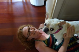 Reuniting with Lola, who stayed in VT during the Indie Bookstore Roadtrip